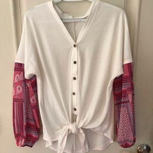 Flowy front tie blouse